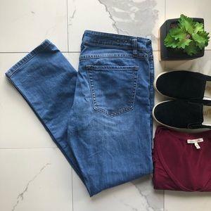 CAbi Denim Medium Wash Mid Rise Straight Leg Jeans
